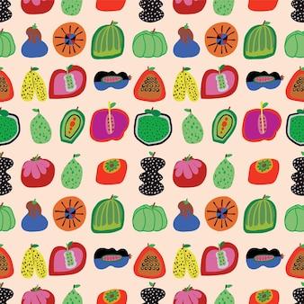Ilustração em vetor fofos feitos à mão de vegetais e frutas padrão de repetição perfeita decoração para casa imprimir