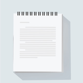 Ilustração em vetor folha bloco de notas