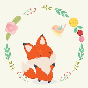 Ilustração em vetor fox fofo arte desenhada de mão