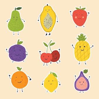 Ilustração em vetor frutas fofinho