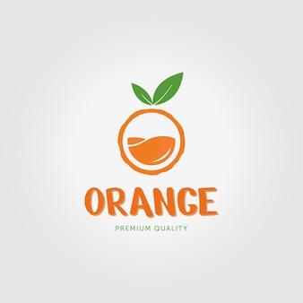 Ilustração em vetor frutas laranja logotipo design vintage