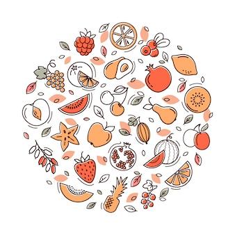 Ilustração em vetor frutas.