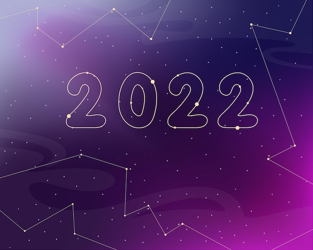 Ilustração em vetor fundo astrologia ano novo 2022
