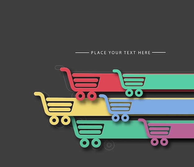 Ilustração em vetor fundo carrinho de compras