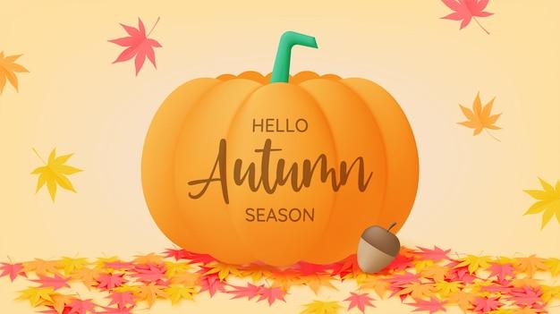 Ilustração em vetor fundo com folhas de outono