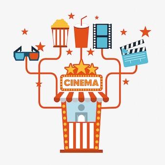 Ilustração em vetor fundo design overwhite cinema