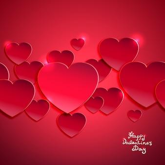 Ilustração em vetor fundo dia dos namorados com corações vermelhos