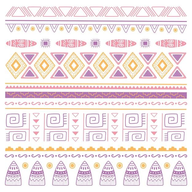 Ilustração em vetor fundo étnico artesanal, ornamento folclórico asteca