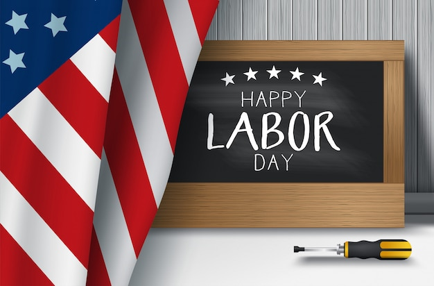 Ilustração em vetor fundo eua dia do trabalho com a bandeira do eua, tipografia do dia do trabalho estados unidos da américa