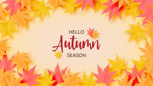 Ilustração em vetor fundo folhas de outono