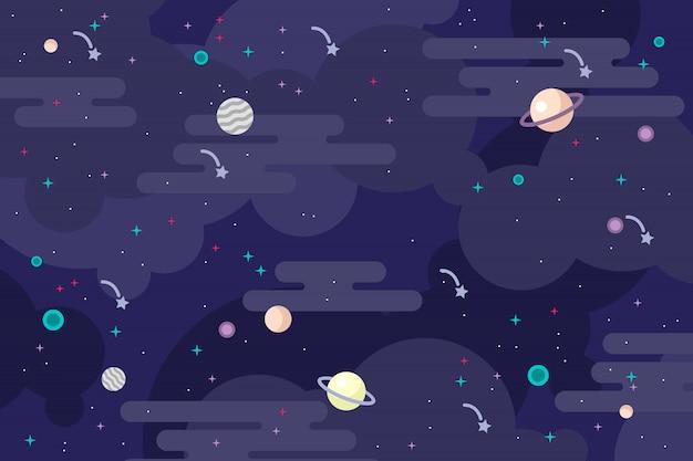 Ilustração em vetor fundo galáxia plana