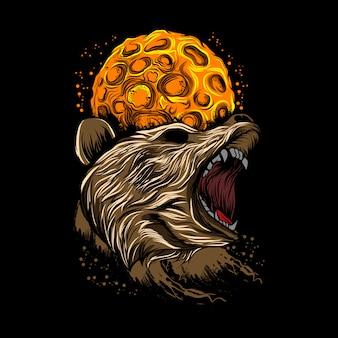 Ilustração em vetor fundo lua urso bravo