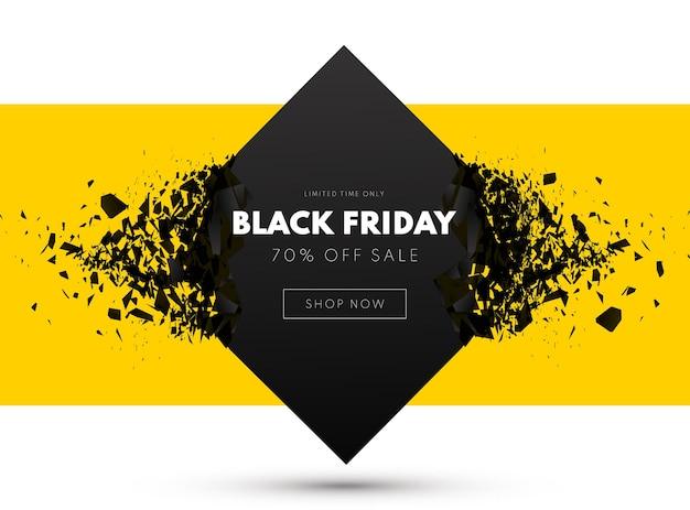 Ilustração em vetor fundo preto banner venda sexta-feira