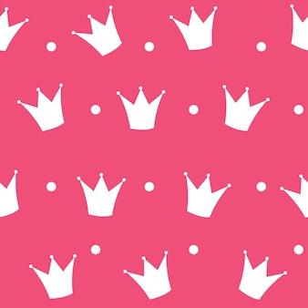 Ilustração em vetor fundo princesa coroa padrão sem emenda.