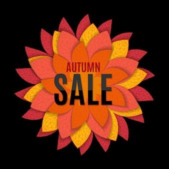 Ilustração em vetor fundo venda de folhas de outono