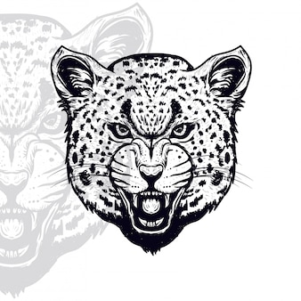 Ilustração em vetor furioso cabeça leopardo
