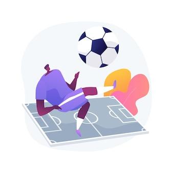 Ilustração em vetor futebol conceito abstrato. esporte de equipe, jogar bola, campeonato mundial profissional, jogo de esporte, uniforme de jogador, estádio de futebol, copa do vencedor, campo de grama, metáfora abstrata de jogo.