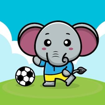 Ilustração em vetor futebol elefante fofo