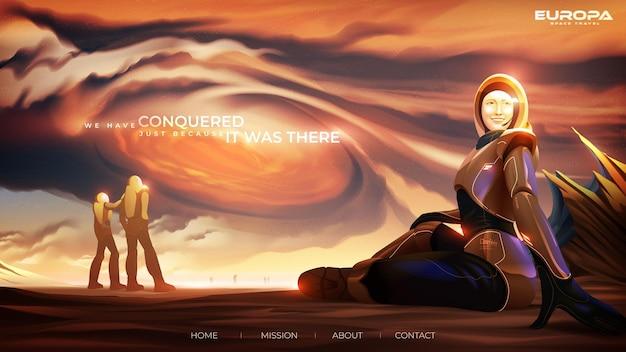 Ilustração em vetor futurista para a página de destino de uma turista com um traje espacial sentada casualmente Vetor Premium