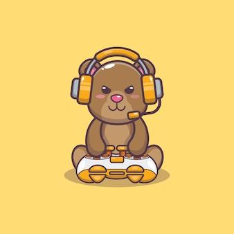 Ilustração em vetor gamer bear cartoon