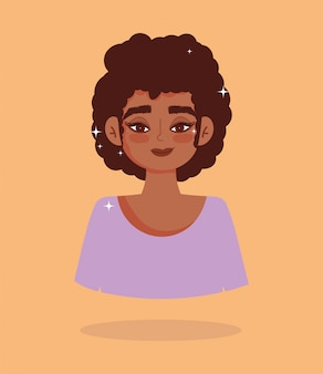 Ilustração em vetor garota afro-americana de cabelo curto retrato personagem de desenho animado