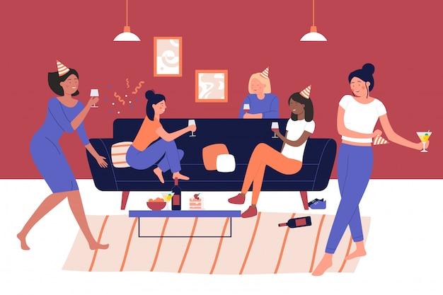 Ilustração em vetor garota pessoas festa em casa