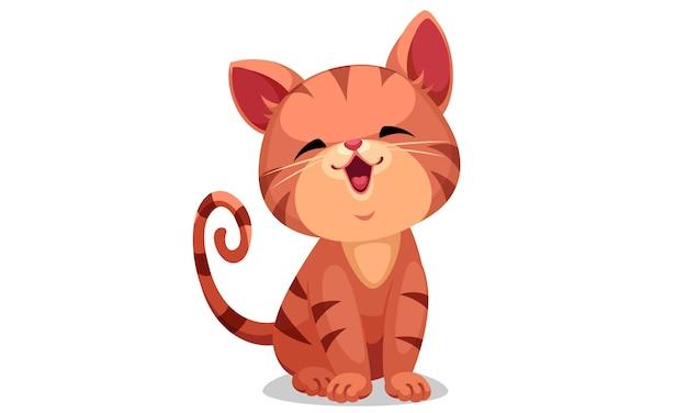 Ilustração em vetor gatinho bonitinho