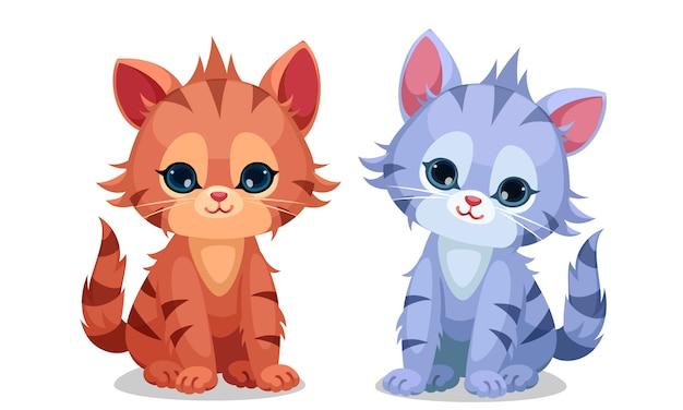 Ilustração em vetor gatinhos fofos