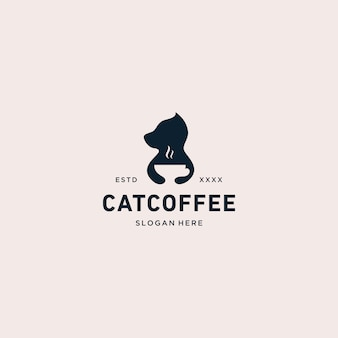 Ilustração em vetor gato café logotipo