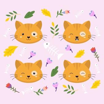 Ilustração em vetor gato cara expressão bonito