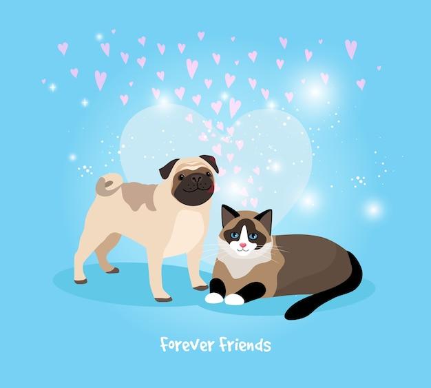 Ilustração em vetor gato e cachorro para sempre amigos
