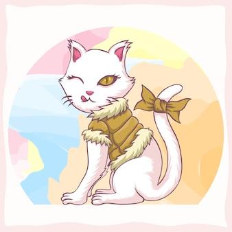 Ilustração em vetor gato juventude menina