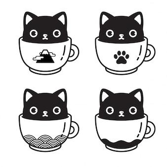 Ilustração em vetor gato personagem gatinho xícara de café