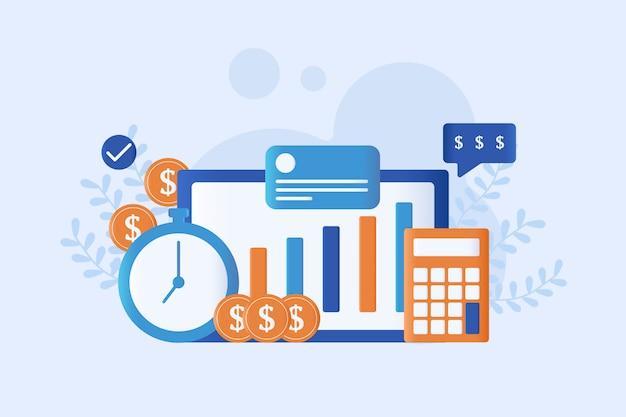 Ilustração em vetor gestão financeira plana
