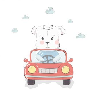 Ilustração em vetor gira com bebê cachorro