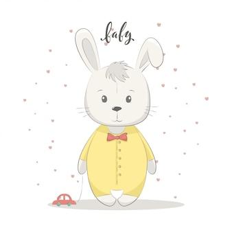 Ilustração em vetor gira com bebê coelho