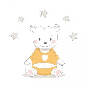 Ilustração em vetor gira com bebê urso