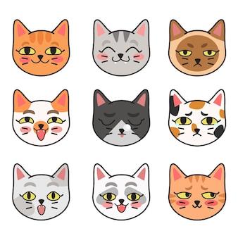 Ilustração em vetor gira de diferentes raças de gatos. um conjunto de retratos de gatos bonitos com emoções diferentes em um estilo simples de desenho animado.