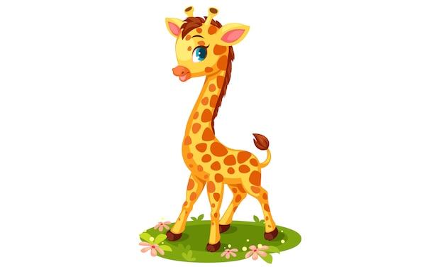 Ilustração em vetor girafa bonito dos desenhos animados