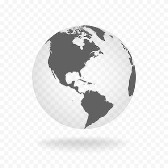 Ilustração em vetor globo cinza branco transparente