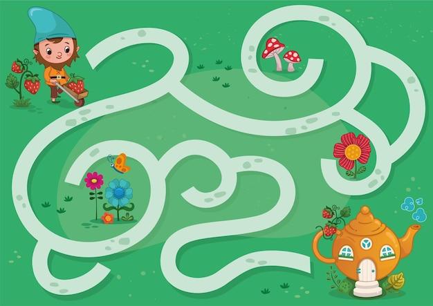 Ilustração em vetor gnome maze game for children