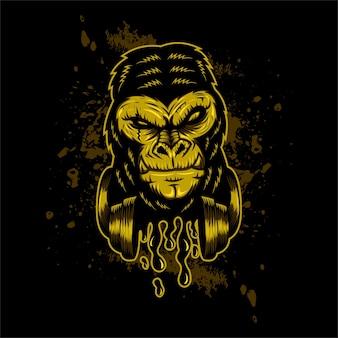 Ilustração em vetor gorila headphone