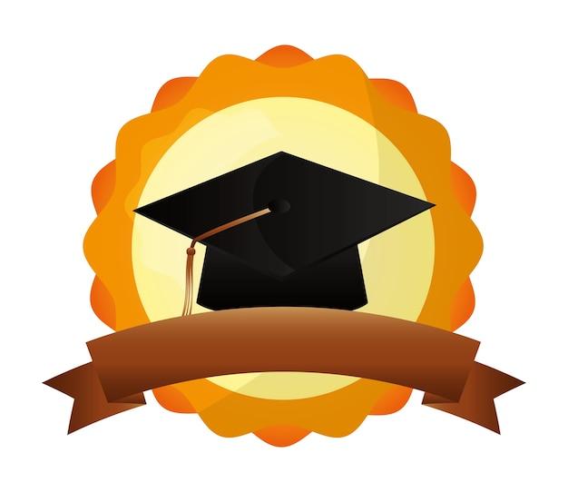 Ilustração em vetor graduação chapéu escola sucesso emblema