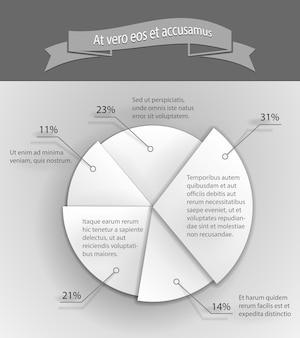 Ilustração em vetor gráfico de pizza de negócios 3d de papel