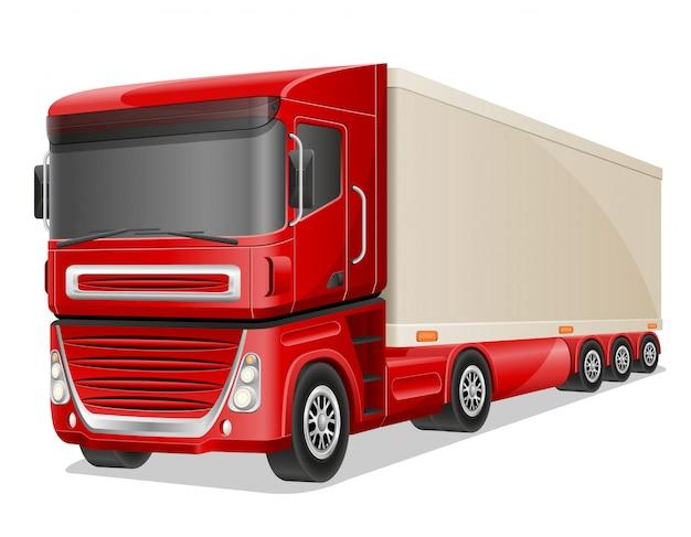 Ilustração em vetor grande caminhão vermelho