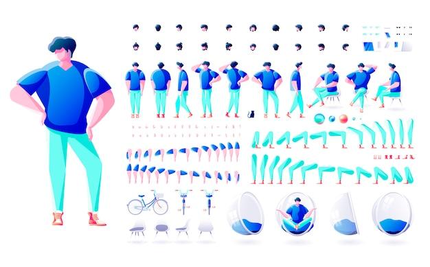 Ilustração em vetor grande conjunto kit coleção isolado construtor estilo moderno corpo elemento personagem homem macho pose gestos vista frontal traseira lado ação penteados para animação de design de movimento