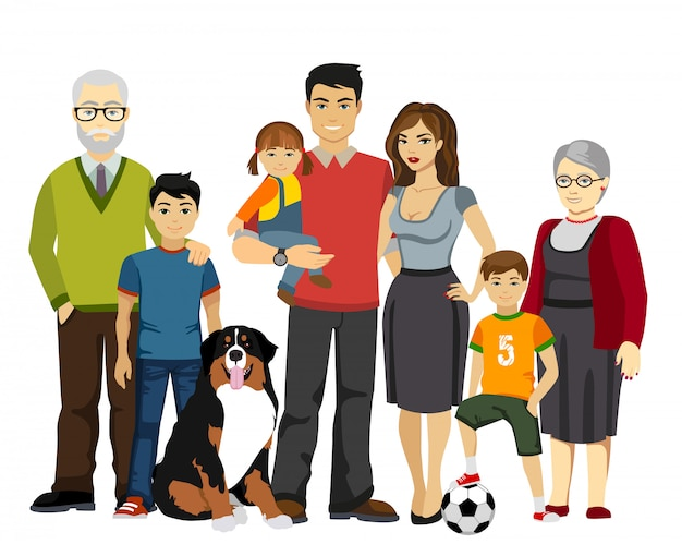Ilustração em vetor grande e feliz família