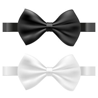 Ilustração em vetor gravata borboleta em preto e branco isolada