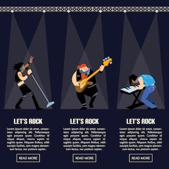 Ilustração em vetor grupo música rock band