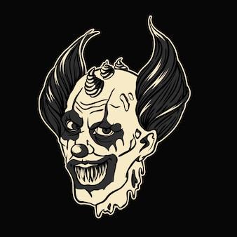 Ilustração em vetor halloween palhaço mal inferno